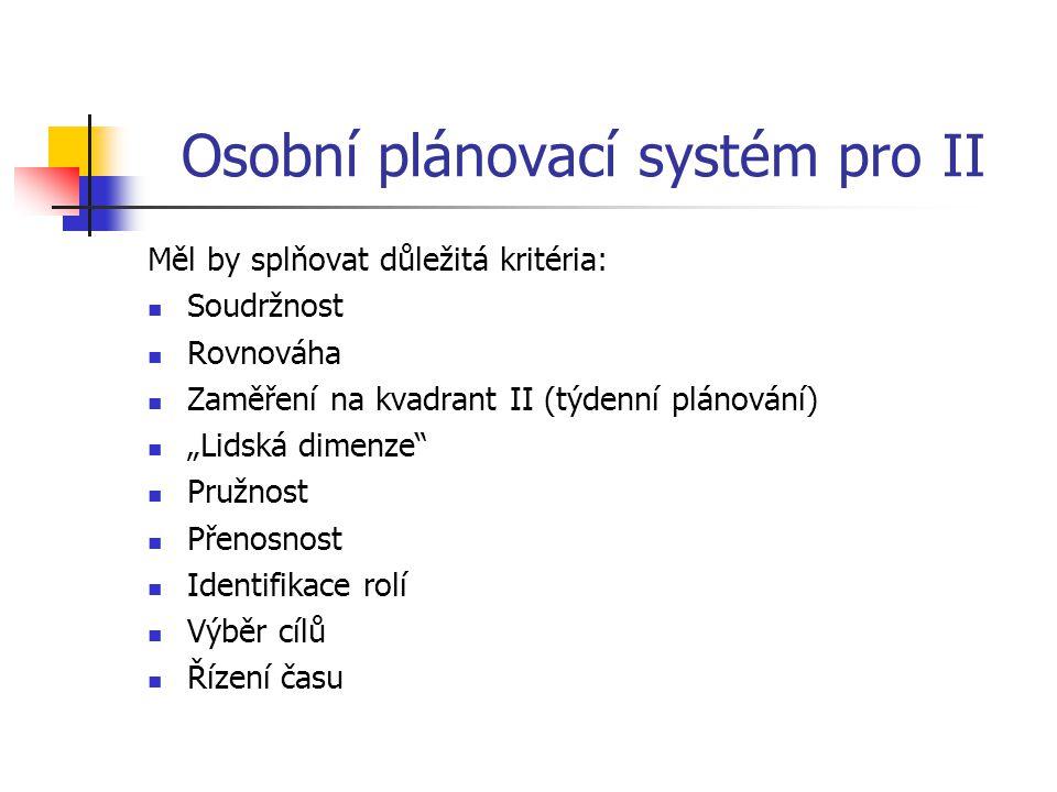 Osobní plánovací systém pro II