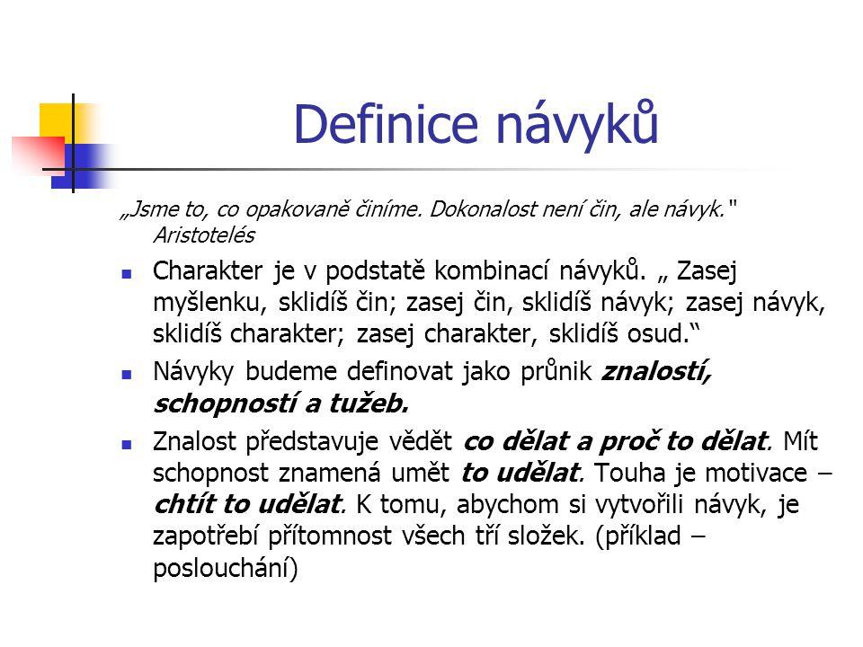 """Definice návyků """"Jsme to, co opakovaně činíme. Dokonalost není čin, ale návyk. Aristotelés."""