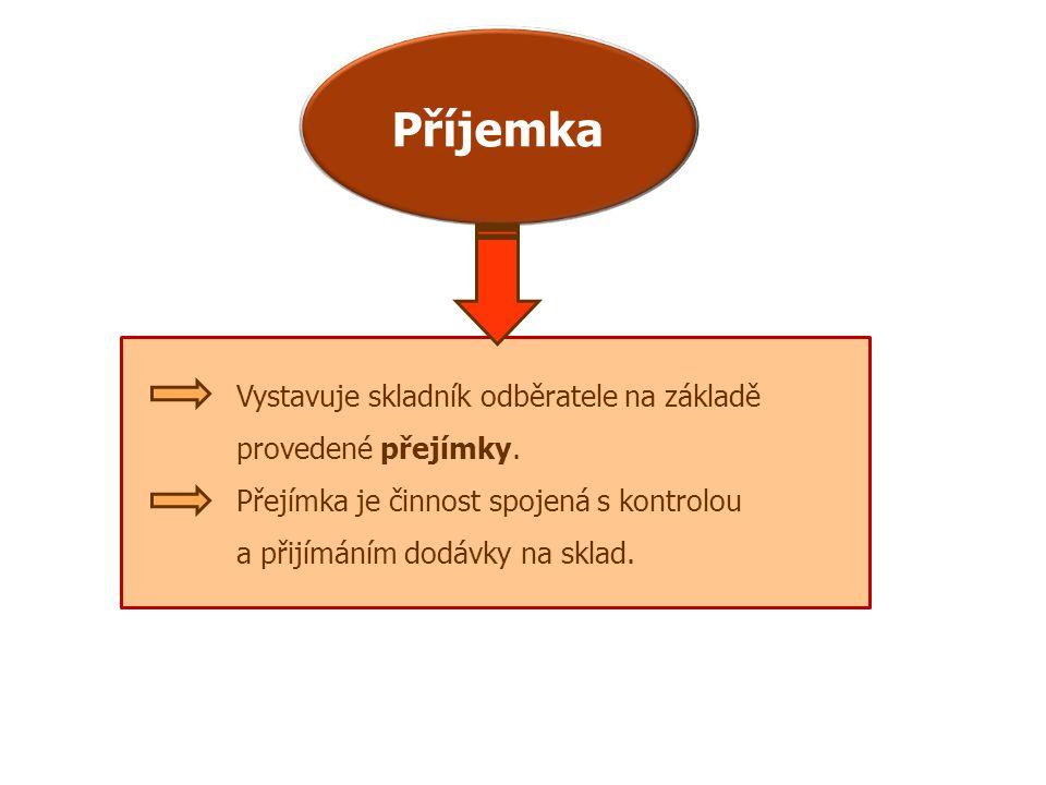 Příjemka Vystavuje skladník odběratele na základě provedené přejímky.