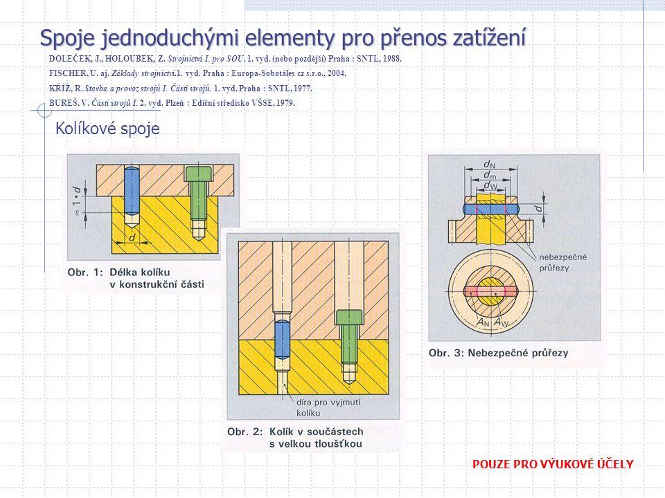Spoje jednoduchými elementy pro přenos zatížení