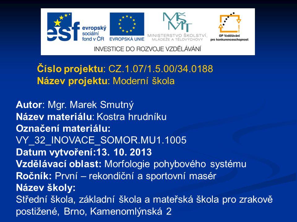 Číslo projektu: CZ.1.07/1.5.00/34.0188 Název projektu: Moderní škola. Autor: Mgr. Marek Smutný. Název materiálu: Kostra hrudníku.