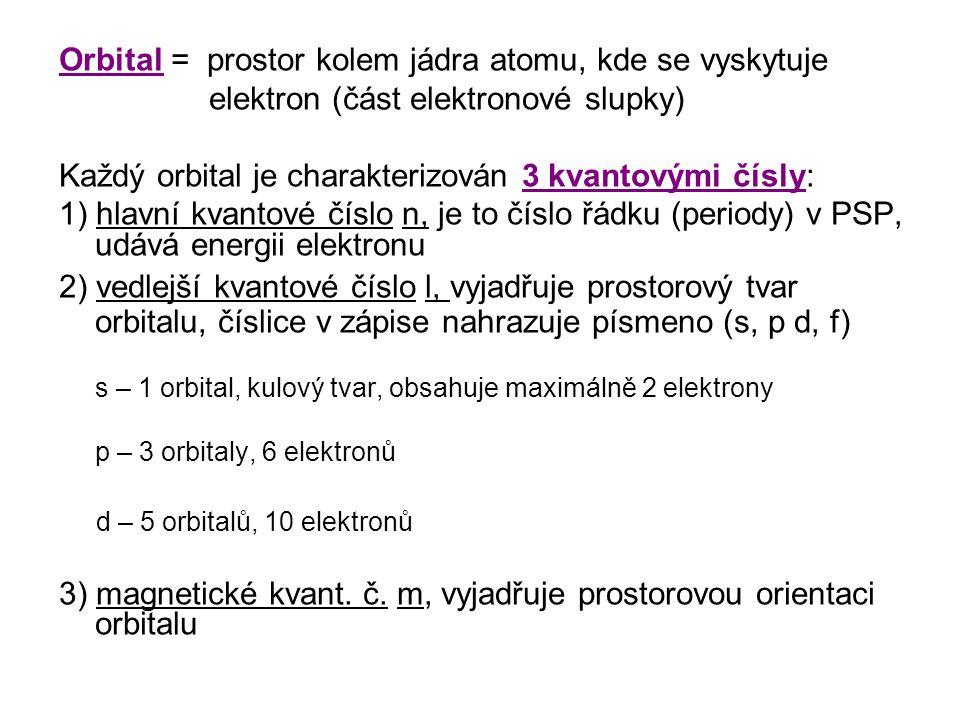 Orbital = prostor kolem jádra atomu, kde se vyskytuje