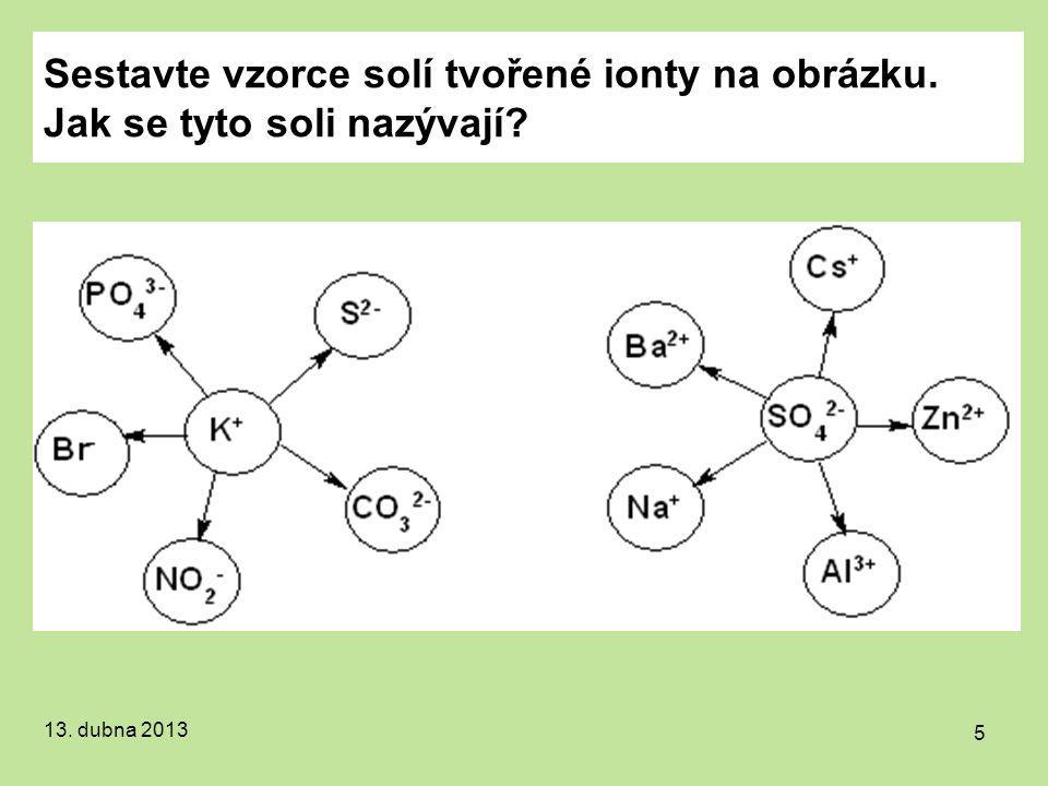 Sestavte vzorce solí tvořené ionty na obrázku