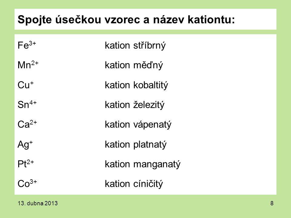 Spojte úsečkou vzorec a název kationtu: