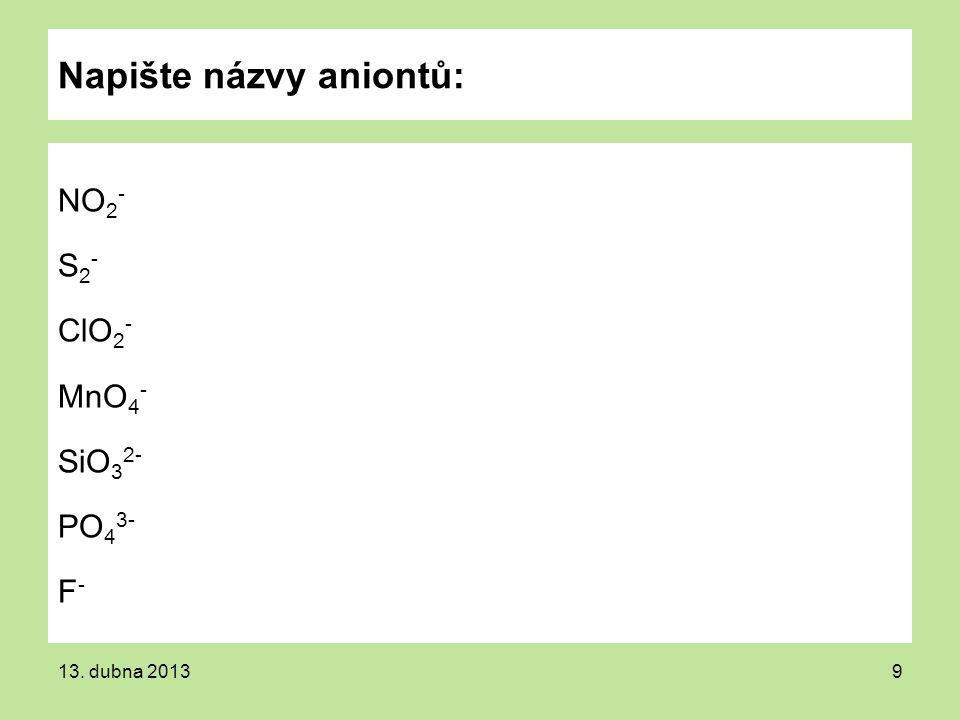 Napište názvy aniontů: