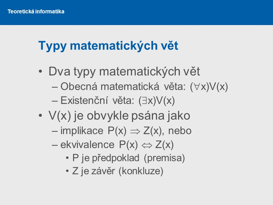 Typy matematických vět