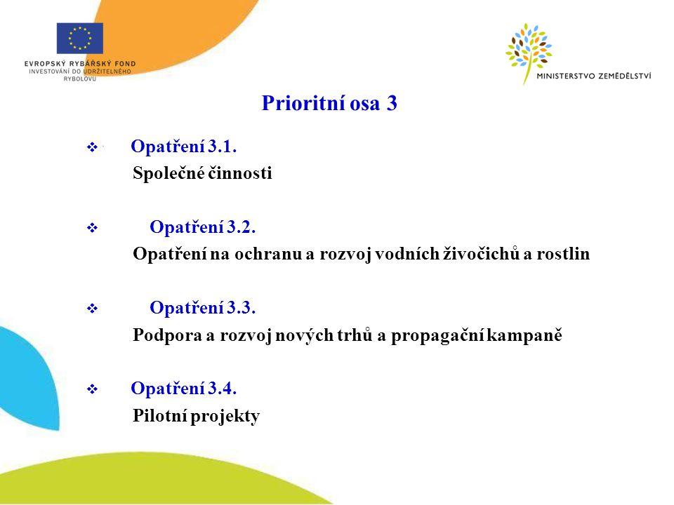 Prioritní osa 3 Opatření 3.1. Společné činnosti Opatření 3.2.