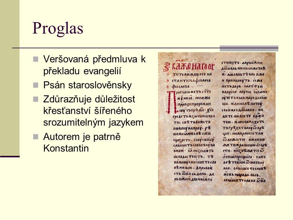 Proglas Veršovaná předmluva k překladu evangelií Psán staroslověnsky