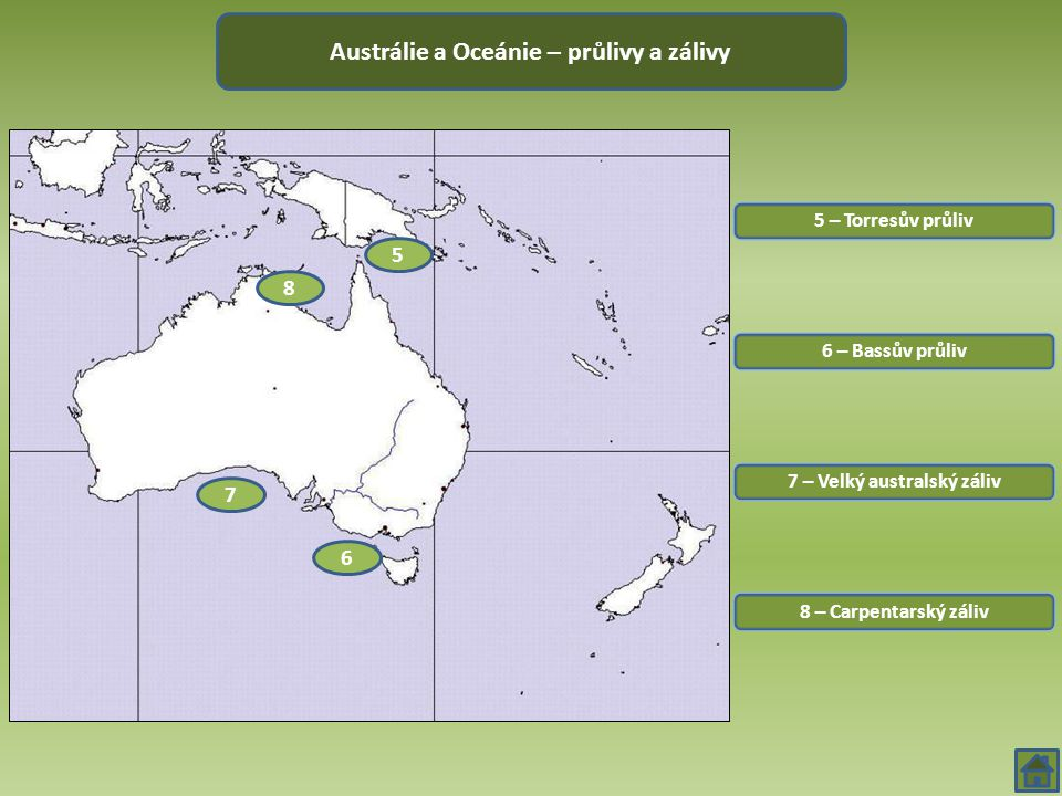 Austrálie a Oceánie – průlivy a zálivy 7 – Velký australský záliv