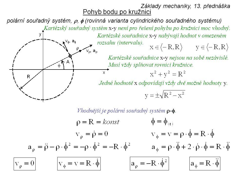 Pohyb bodu po kružnici Základy mechaniky, 13. přednáška