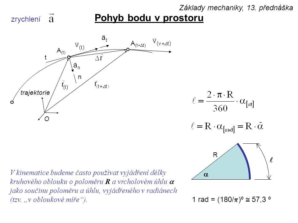 Pohyb bodu v prostoru Základy mechaniky, 13. přednáška zrychlení l