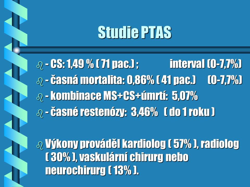 Studie PTAS - CS: 1,49 % ( 71 pac.) ; interval (0-7,7%)