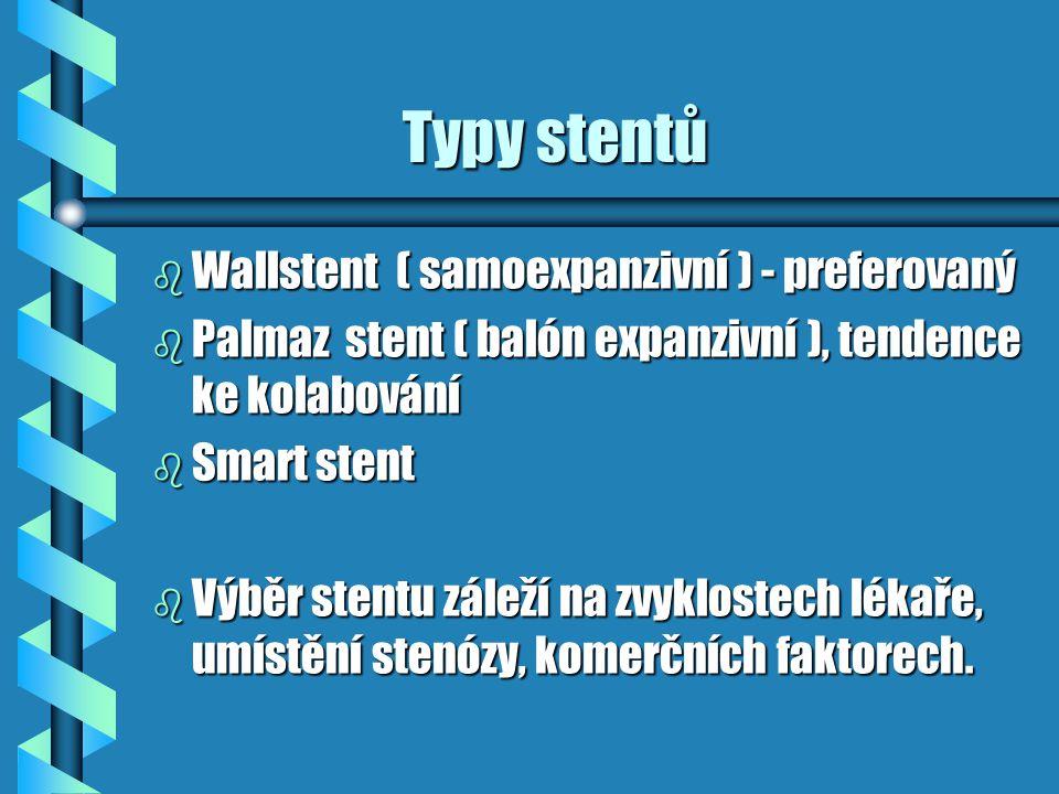 Typy stentů Wallstent ( samoexpanzivní ) - preferovaný