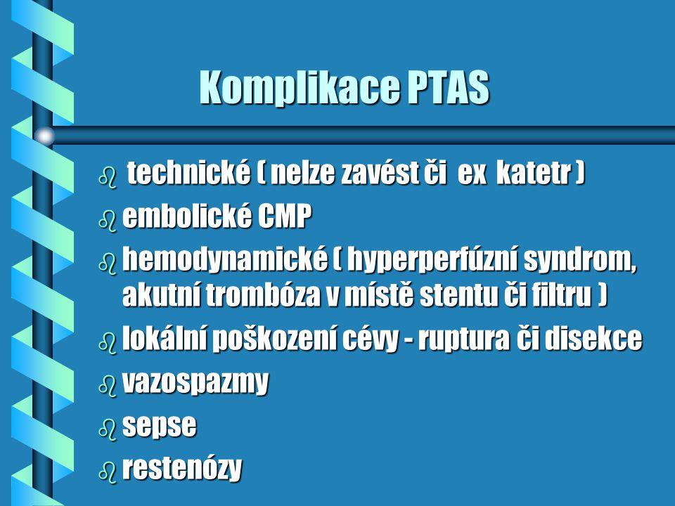 Komplikace PTAS technické ( nelze zavést či ex katetr ) embolické CMP