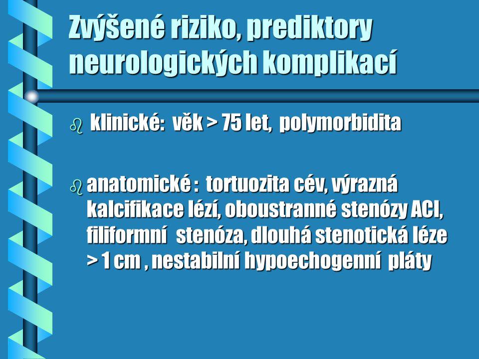 Zvýšené riziko, prediktory neurologických komplikací