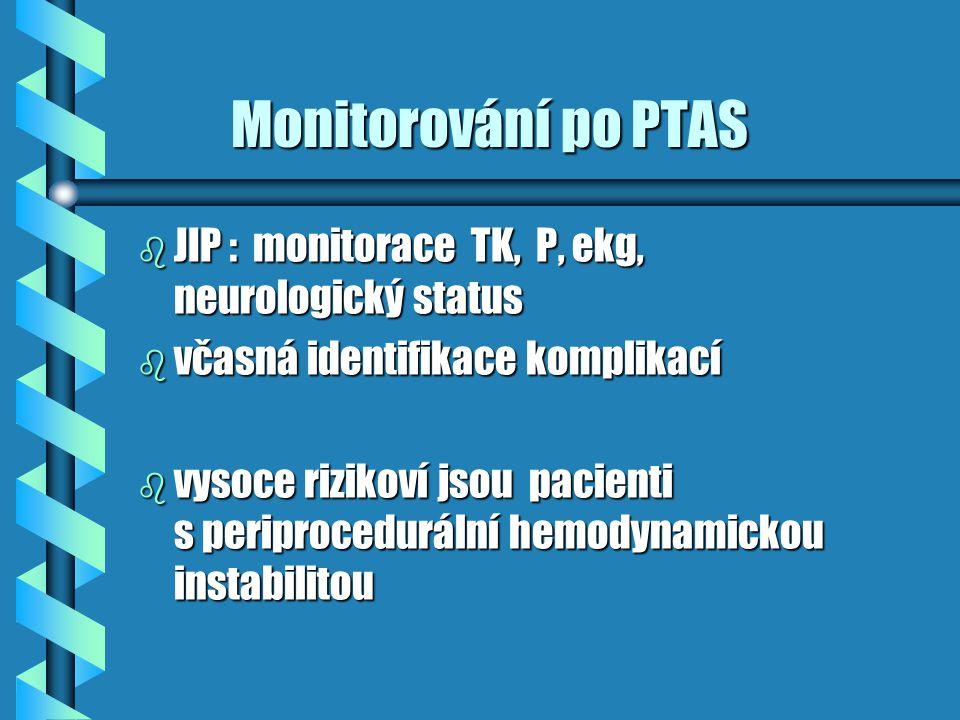 Monitorování po PTAS JIP : monitorace TK, P, ekg, neurologický status