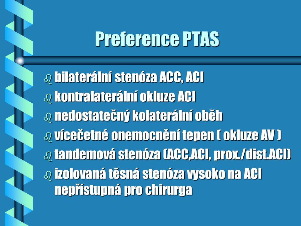 Preference PTAS bilaterální stenóza ACC, ACI