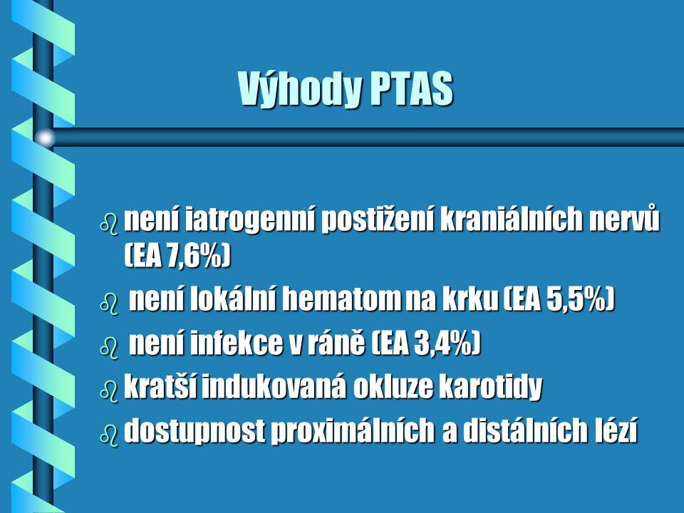 Výhody PTAS není iatrogenní postižení kraniálních nervů (EA 7,6%)