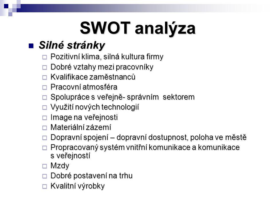 SWOT analýza Silné stránky Pozitivní klima, silná kultura firmy