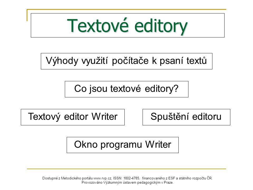 Textové editory Výhody využití počítače k psaní textů
