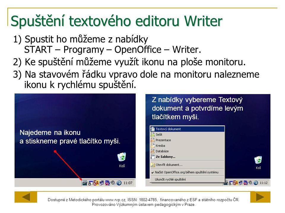 Spuštění textového editoru Writer