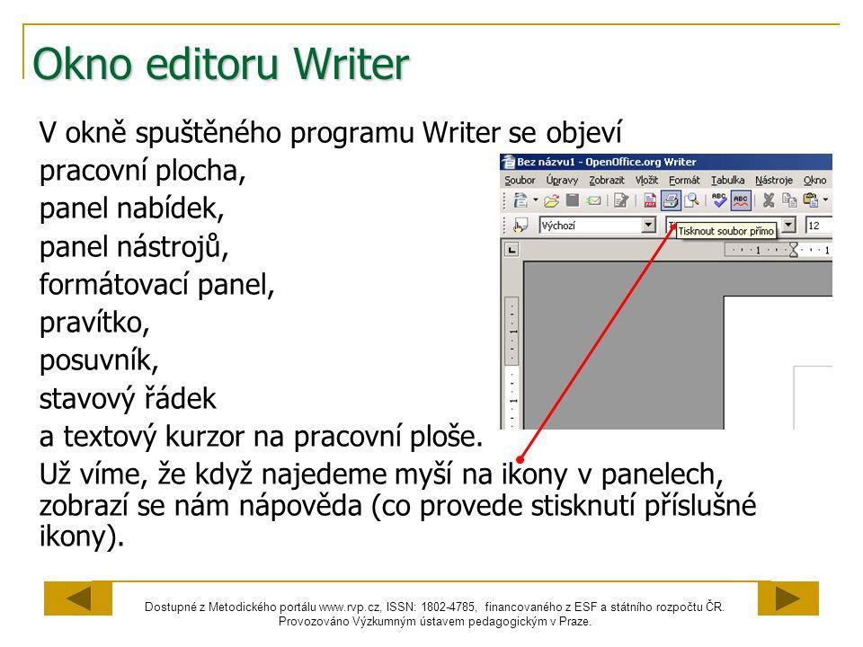 Okno editoru Writer V okně spuštěného programu Writer se objeví