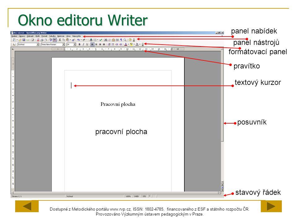 Okno editoru Writer panel nabídek panel nástrojů formátovací panel