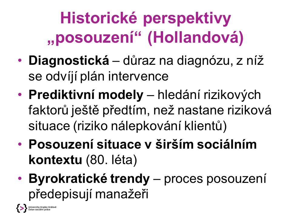 """Historické perspektivy """"posouzení (Hollandová)"""