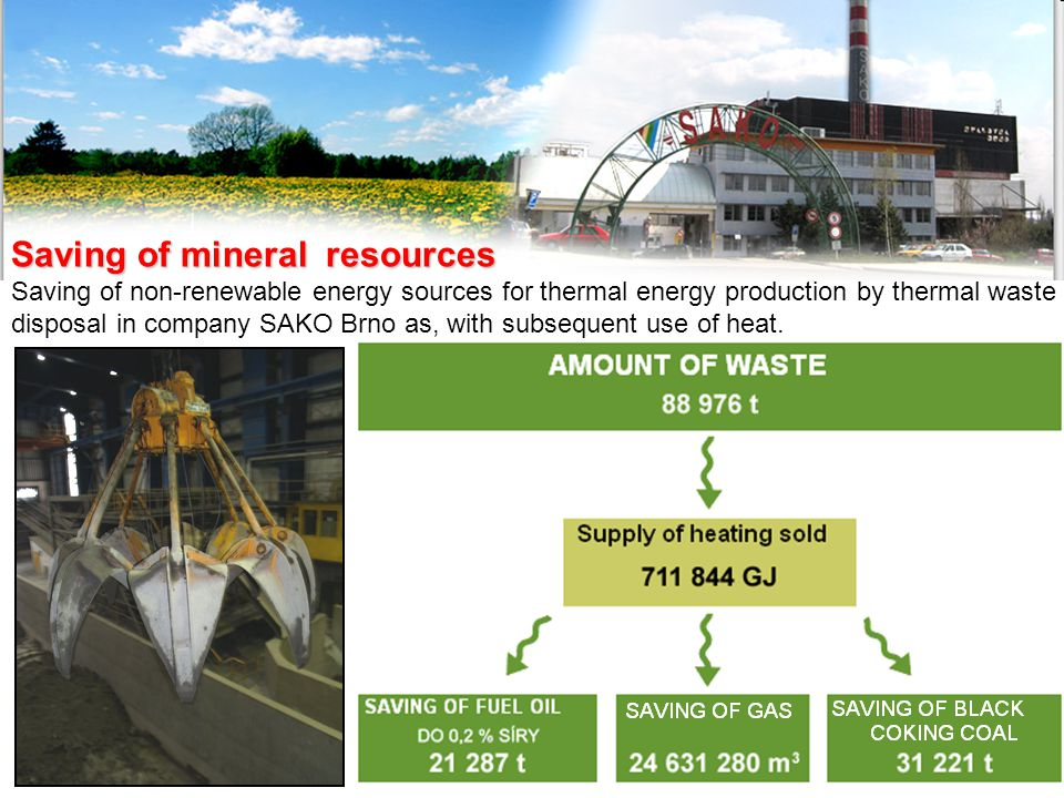 Saving of mineral resources