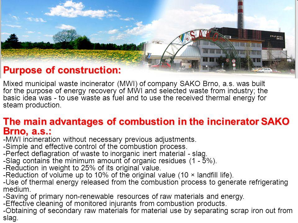 Purpose of construction: