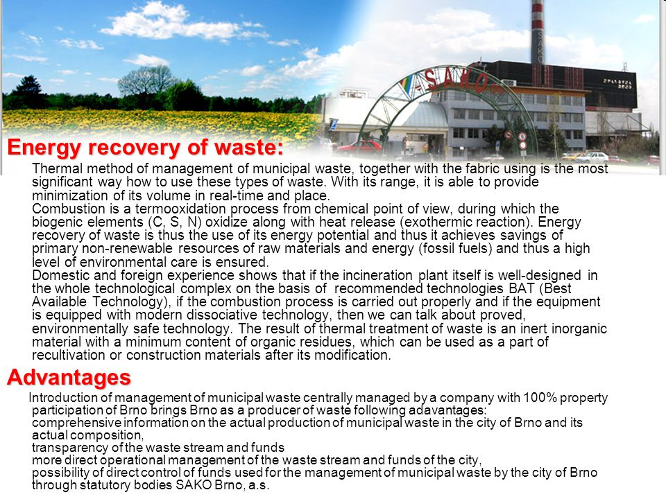 Energy recovery of waste:
