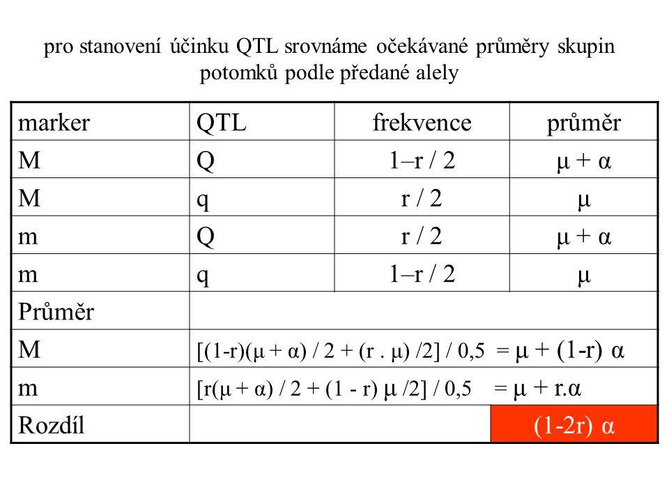 marker QTL frekvence průměr M Q 1–r / 2 μ + α q r / 2 μ m Průměr
