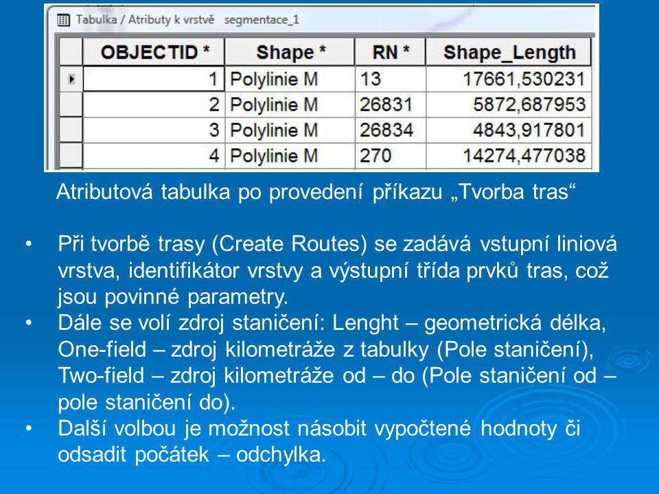 """Atributová tabulka po provedení příkazu """"Tvorba tras"""