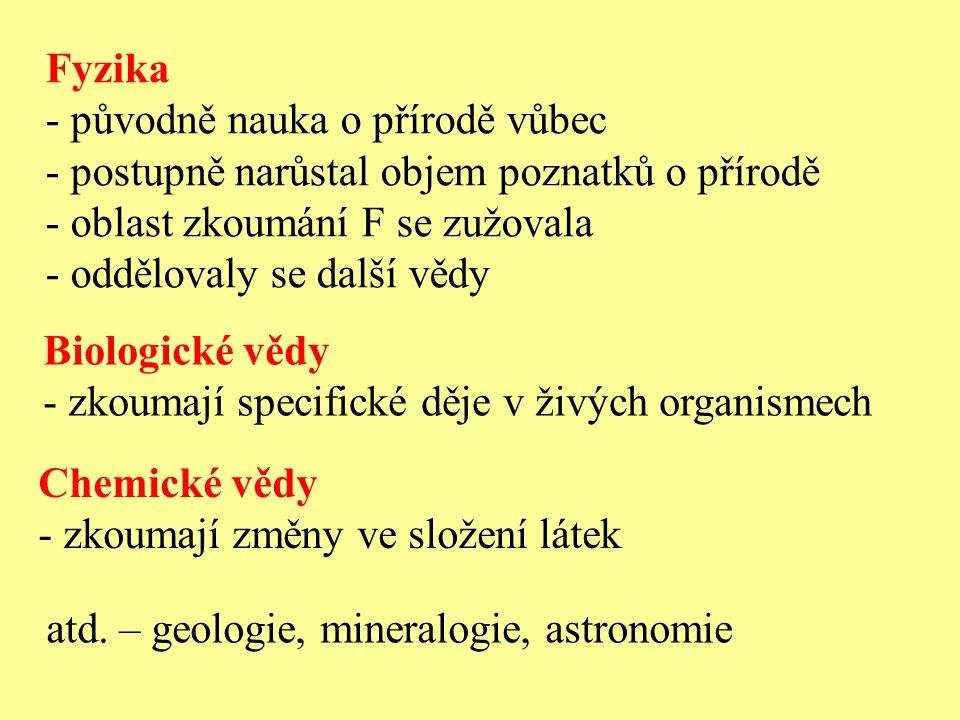 Fyzika původně nauka o přírodě vůbec. postupně narůstal objem poznatků o přírodě. oblast zkoumání F se zužovala.