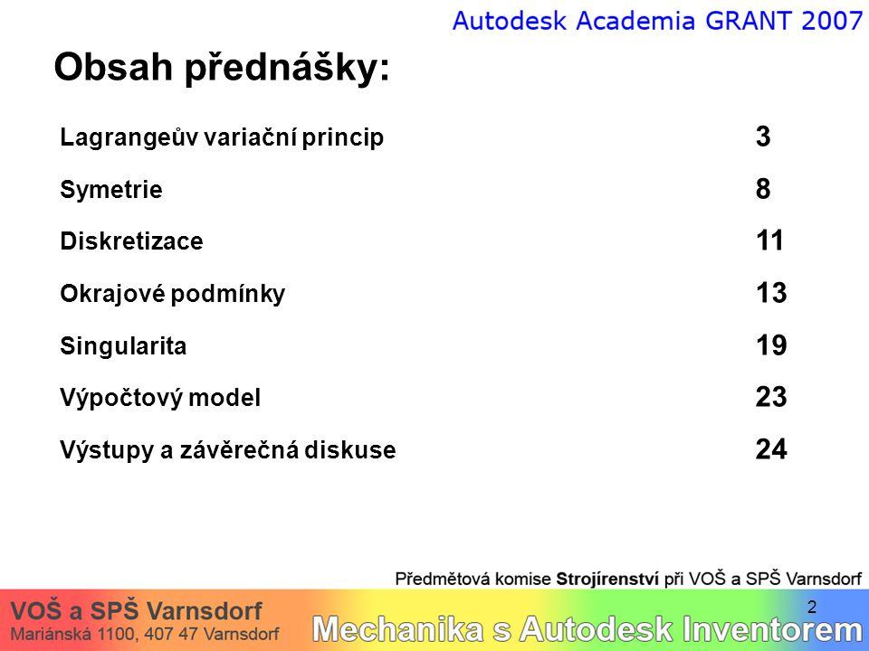 Obsah přednášky: Lagrangeův variační princip 3 Symetrie 8