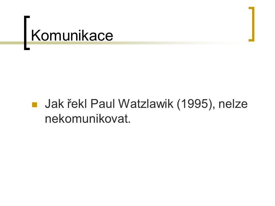 Komunikace Jak řekl Paul Watzlawik (1995), nelze nekomunikovat.