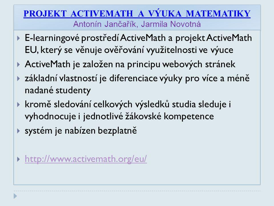 ActiveMath je založen na principu webových stránek