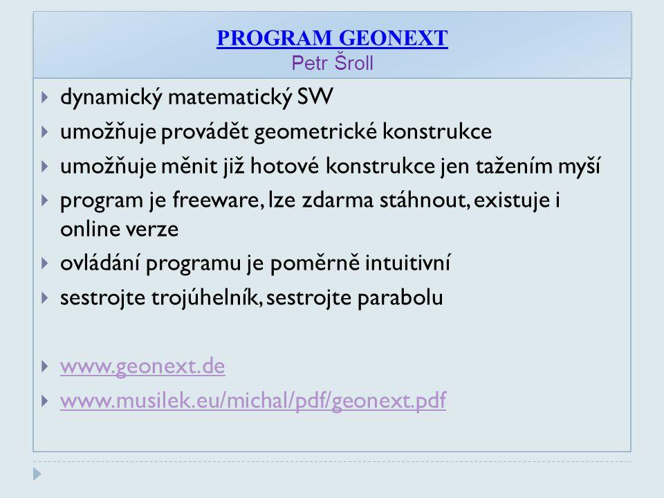 PROGRAM GEONEXT Petr Šroll