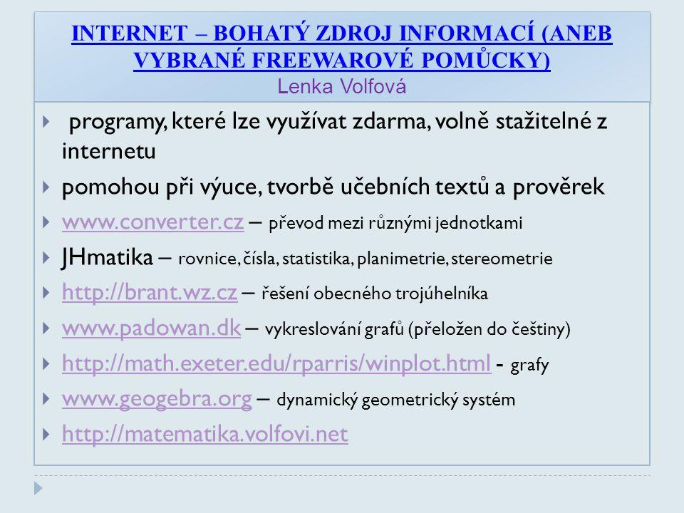 programy, které lze využívat zdarma, volně stažitelné z internetu