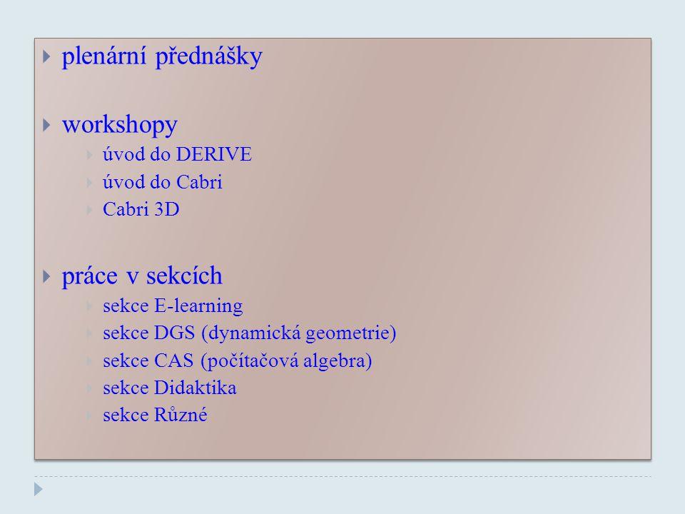 plenární přednášky workshopy práce v sekcích úvod do DERIVE