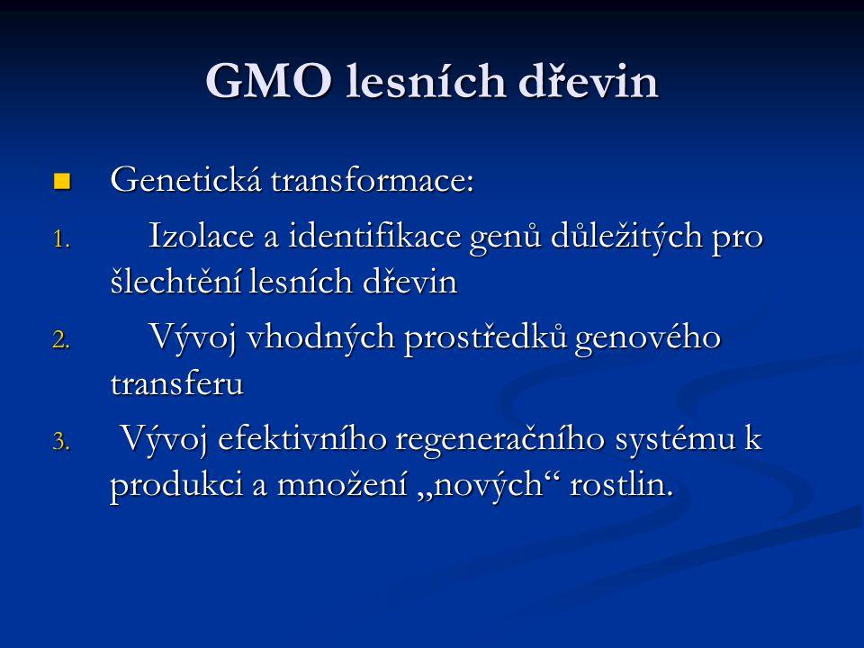 GMO lesních dřevin Genetická transformace: