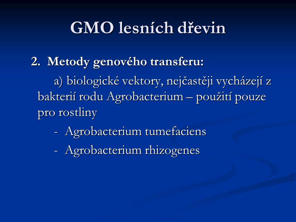 GMO lesních dřevin 2. Metody genového transferu: