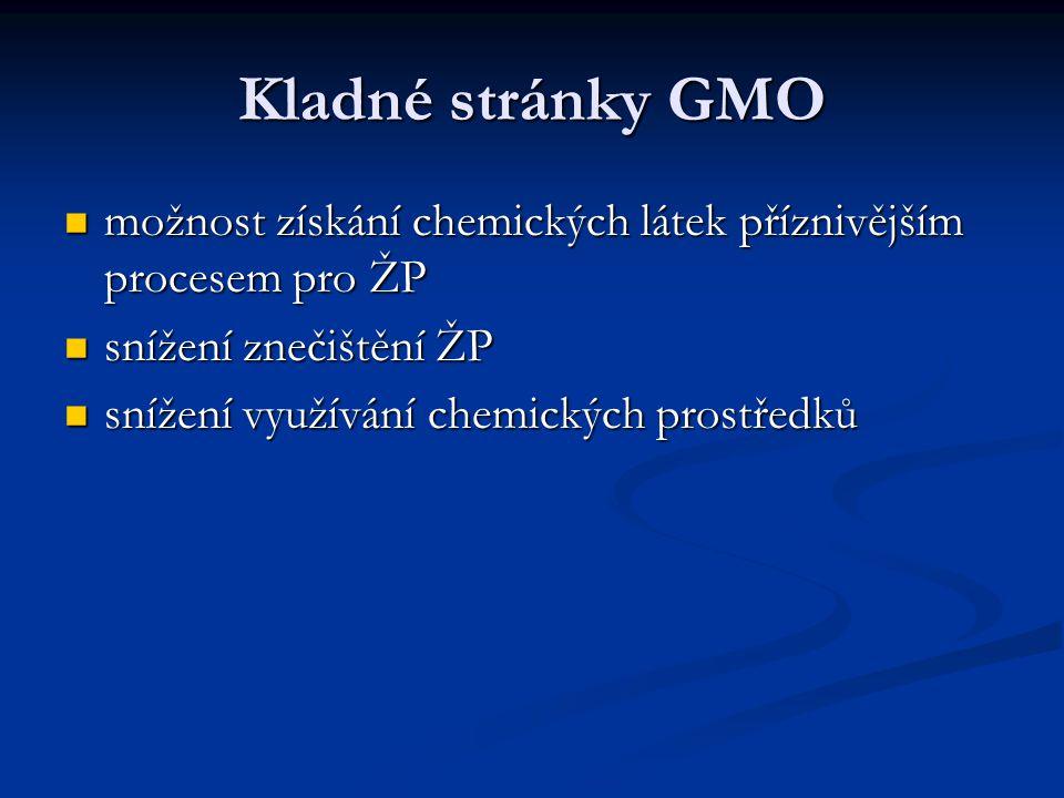 Kladné stránky GMO možnost získání chemických látek příznivějším procesem pro ŽP. snížení znečištění ŽP.