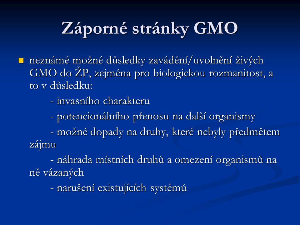 Záporné stránky GMO neznámé možné důsledky zavádění/uvolnění živých GMO do ŽP, zejména pro biologickou rozmanitost, a to v důsledku: