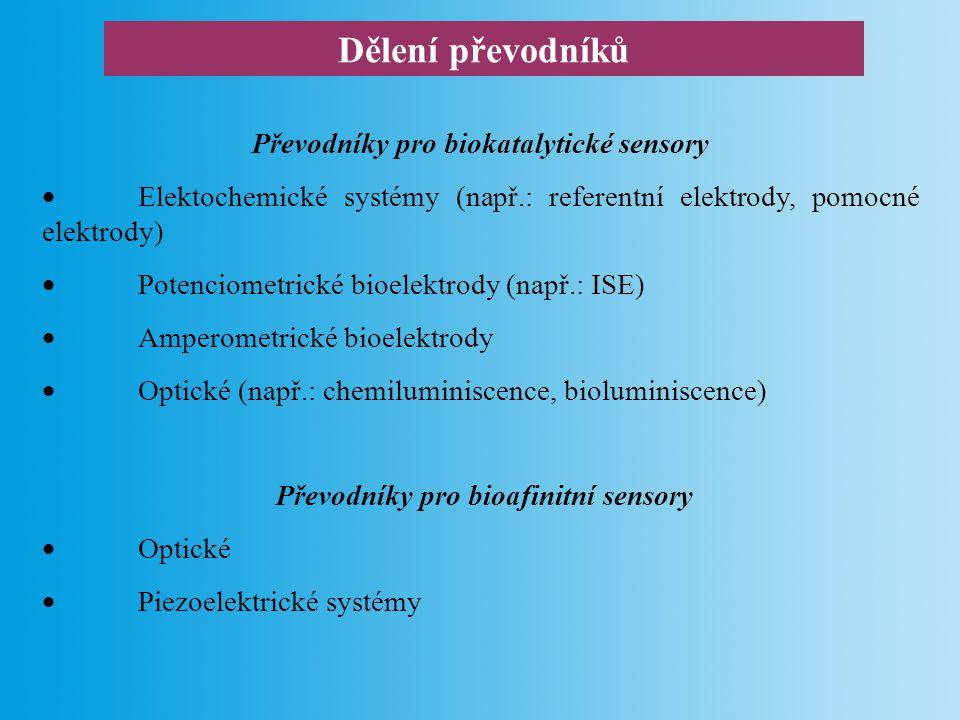 Dělení převodníků Převodníky pro biokatalytické sensory