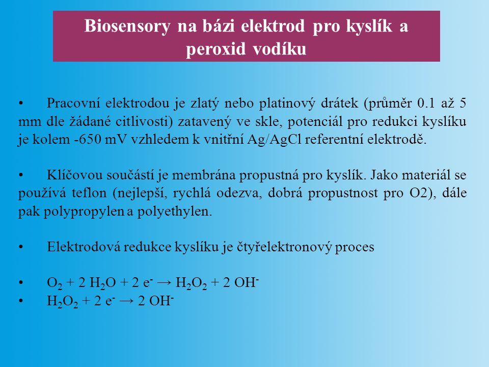 Biosensory na bázi elektrod pro kyslík a peroxid vodíku