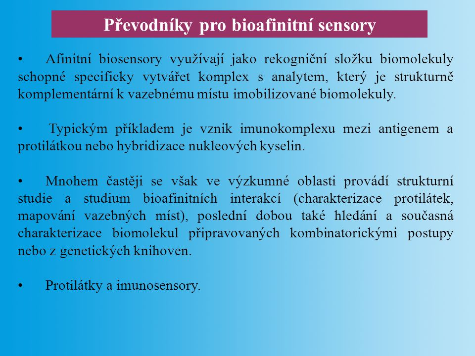 Převodníky pro bioafinitní sensory
