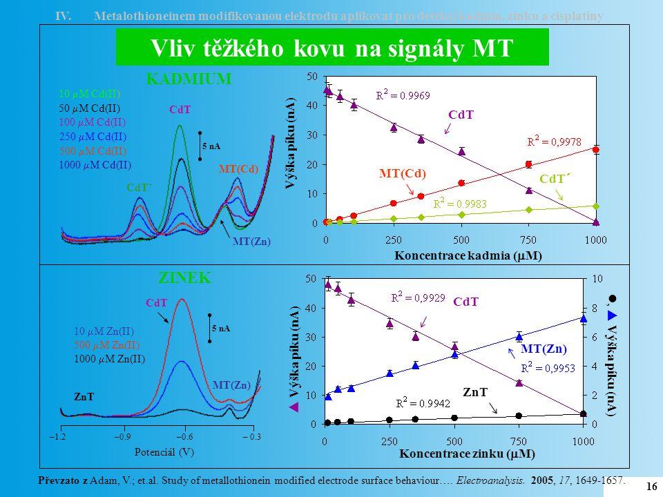 Vliv těžkého kovu na signály MT