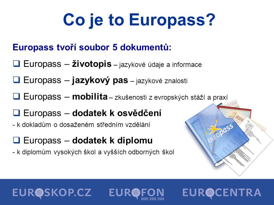 Co je to Europass Europass tvoří soubor 5 dokumentů: