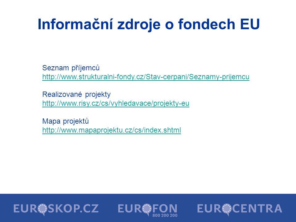 Informační zdroje o fondech EU